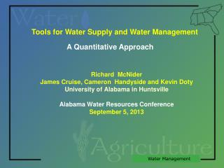 Tools for Water Supply and Water Management