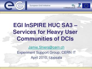 EGI InSPIRE HUC SA3 –   Services for Heavy User Communities of DCIs