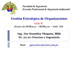 Ing. Joe Gonz�lez V�squez, MBA Dr. (c) en Ciencias e Ingenier�a