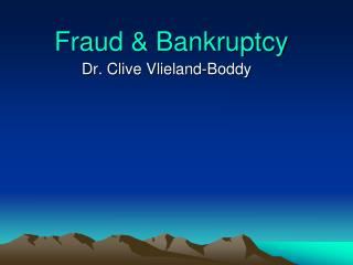 Fraud & Bankruptcy