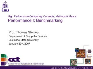 High Performance Computing: Concepts, Methods & Means Performance I: Benchmarking