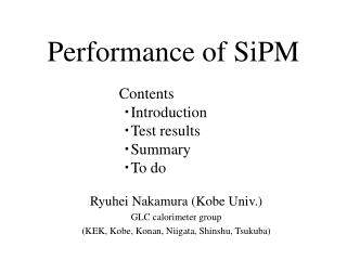Performance of SiPM