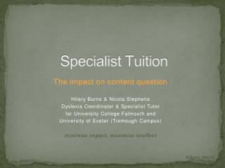 Specialist Tuition