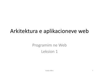 Arkitektura e aplikacioneve web