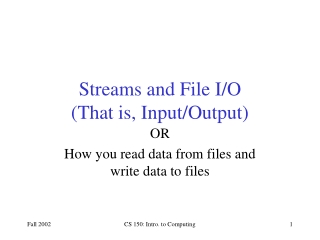 Streams and File I