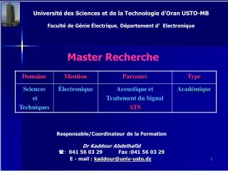 Universit  des Sciences et de la Technologie d Oran USTO-MB  Facult  de G nie  lectrique, D partement d   Electronique