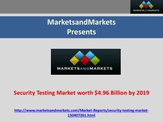 Security Testing Market worth $4.96 Billion by 2019