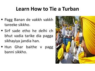Learn How to Tie a Turban