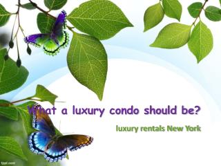 What a luxury condo should be?