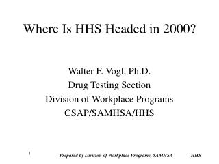 Where Is HHS Headed in 2000?