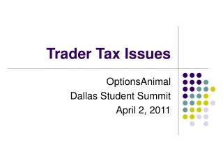 Trader Tax Issues