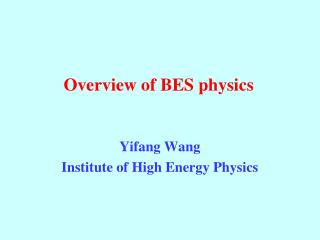 Overview of BES physics