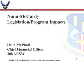 Nunn-McCurdy Legislation/Program Impacts  Della McPhail Chief Financial Officer 308 ARSW