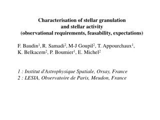 Characterisation of stellar granulation and stellar activity