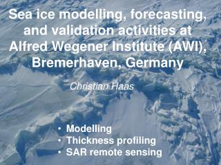 Sea ice modelling, forecasting, and validation activities at