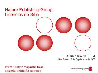 Nature Publishing Group Licencias de Sitio