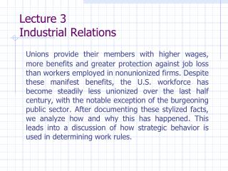 Lecture 3 Industrial Relations