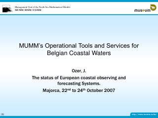 MUMM's Operational Tools and Services for Belgian Coastal Waters