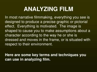 ANALYZING FILM