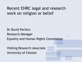 Recent EHRC legal and research work on religion or belief