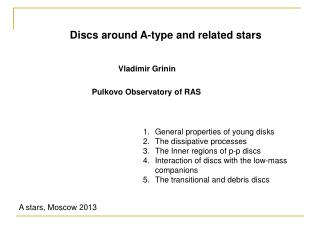 Discs around A-type and related stars