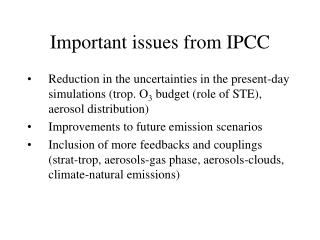 Important issues from IPCC
