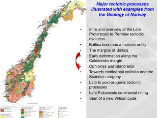 Major tectonic processes illustrated with examples from the Geology of Norway