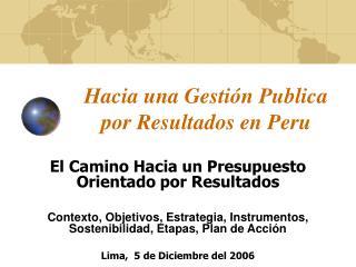 Hacia una Gestión Publica por Resultados en Peru