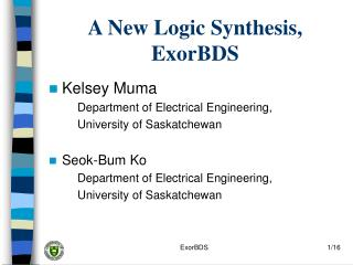 A New Logic Synthesis, ExorBDS