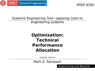 Optimization: Technical Performance Allocation