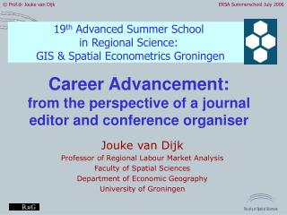 Career Advancement: from the perspective of a journal editor and conference organiser