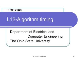 L12-Algorithm timing