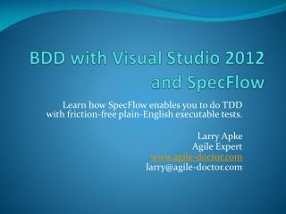 BDD with Visual Studio 2012 and SpecFlow
