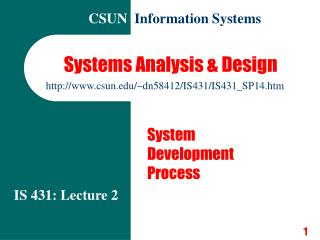 Systems Analysis  Design