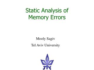 Static Analysis of  Memory Errors