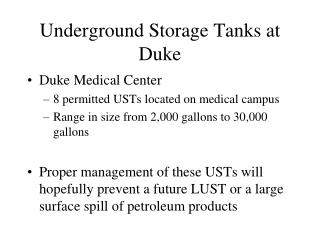 Underground Storage Tanks at Duke