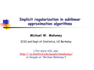 Implicit regularization in sublinear approximation algorithms