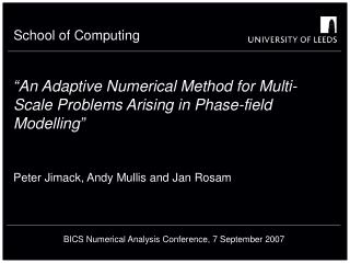 """An Adaptive Numerical Method for Multi-Scale Problems Arising in Phase-field Modelling"""
