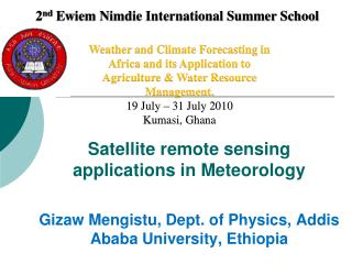Satellite remote sensing applications in Meteorology