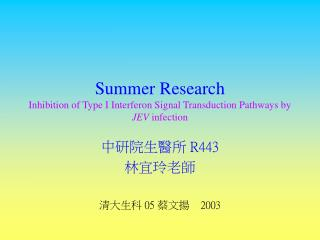 Summer Research Inhibition of Type I Interferon Signal Transduction Pathways by  JEV  infection
