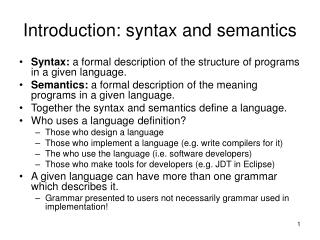 Introduction: syntax and semantics