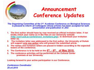 Announcement Conference Updates