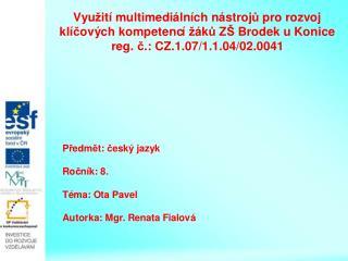 Český spisovatel   Ota Pavel