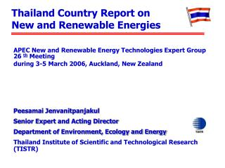 Thailand Country Report on New and Renewable Energies