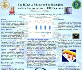 The Effect of Ultrasound in dislodging Radioactive waste from DOE Pipelines