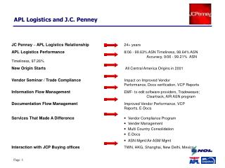 JC Penney  –  APL Logistics Relationship		 24+ years