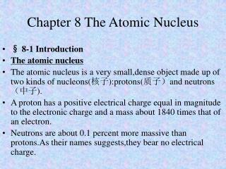 Chapter 8 The Atomic Nucleus