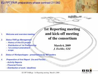Welcome and overview meeting Status FAIR pp Management           -  History of this EU project