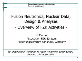 IEA International Workshop on Fusion Neutronics, Baden-Baden, Germany, 18 October 2001