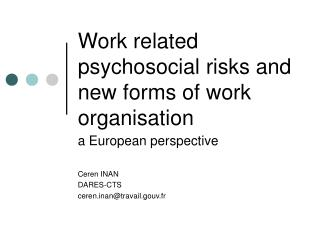 Work related psychosocial risks and new forms of work organisation
